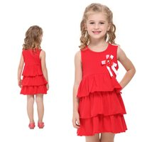 Wholesale Hot Sale Lovely Baby Girl Summer Cotton Red A Line One Piece Brief dresses Flower Print For School For Children s Day For Choose Sizes