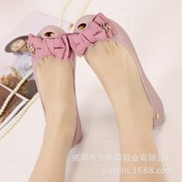 Women big jelly - The summer of big bow shallow mouth fish mouth flat non slip bottom PVC jelly sandals shoes