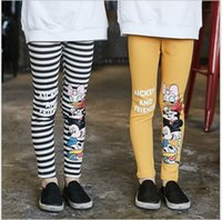 big blue mice - Big Girls Cartoon Mickey Mouse Leggings Pants New Children Letters Printed Stripe Tights Pants Kids Spring Fall Trousers cm