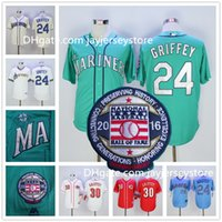 baseballs cream - Ken Griffey Jr Jersey Hall Of Fame Patch MLB Baseball Seattle Mariners Cincinnati Reds White Red Green Cream Blue Pullober