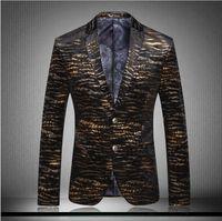 americana prints - 2016 Brand Clothing Men Blazer Americana Hombre Fashion Business Dress Slim Fit Suit Leopard coats costume homme casual plus size