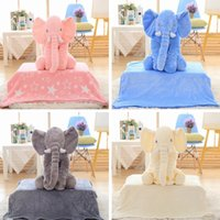 animal pillow blanket - blanket pillow set Baby Elephant soft plush blankets INS children Elephant Toys dolls Elephant Stuffed Toys Throw Pillow LJJP270