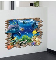 al por mayor 3d cartoon wall sticker large size-Animales de mar de dibujos animados de PVC Pegatinas de pared 3D Pegatinas de pared de decoración para niños para niños