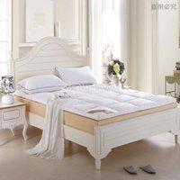 al por mayor topper reina-nueva cama de matrimonio plegable blanca del espesamiento del pato de lujo abajo del colchón Topper exterior 100% algodón 95% plumón de pato relleno acolchado