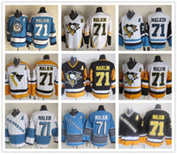Wholesale Cheap Pittsburgh Penguins Evgeni Malkin Vintage CCM Gold Yellow Black White Ice Hockey Jerseys All Stitched