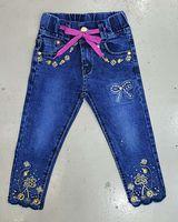 autumn yard decorations - Tight pants Girls bow tie waistband Rhinestone flower decoration blue trousers washed whitewashed yards fashion jeans
