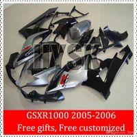 GSXR 1000 05 06 GSXR1000 2005 carenados de inyección 2006 GSX-R1000 K5 2005-2006 carenado kits de Suzuki que compite con la bici Cubierta de plata Negro ABS