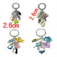 Wholesale Anime Cartoon Adventure Time Jake Finn Elephant Keychain Key Rings Zinc Alloy Metal Figures Pendant Key Chain For Men Women Christmas Gift