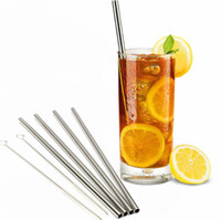 Wholesale 304 Stainless Steel Straw Metal Drinking Straw Beer Juice Straws Cleaning Brush Set Retail Packing Kit Fits Yeti Tumbler Rambler Car Cup