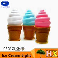 Wholesale On Sale Novelty Led Night Light Ice Cream Lamp Led Lamp Night For Kids Children Cone Shaped Desk Table Lights For Bedroom