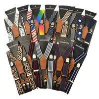 Wholesale high quality kids Adjustable black navy blue striped dot Clip on Y back Suspenders children girl boy braces