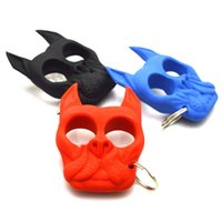 Wholesale Brutus The Bulldog Head Survival Keychain Self Defense Tools Dog Portable Fist Keychain Windows Broken Duron Drill Finger Ring