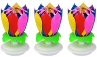 cake candle - Anleolife Music Singing Birthday Candle Musical Lotus Rotating Happy Birthday Flower Candle For Cake Gift Rainbow Double Layer Petal