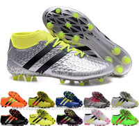 ace leather goods - 2016 Ace Etch Pack FG AG Soccer Boots Mens Soccer Shoes Cleats Mid Ankle Green Turf Football Boots Cheap Good Quality Sneakers