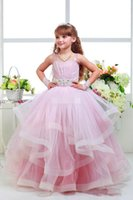 baby pink corset - 2016 pink flower children s clothes Tutu Spaghetti Beaded Sash Sweep Train Ruffles Corset Girls Pageant Dresses Baby Party Gowns
