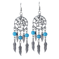 aztec earrings - Turquoise Fashion Dream catcher earrings Fashion Earrings vintage silver plated Boho earrings Aztec earrings Dangle Chain Fringe Jewelry