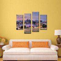 Wholesale 4 Picture Combination Buildings Of Kansas City With Wide Square Wall Art Painting Pictures Print On Canvas City Home Decoration