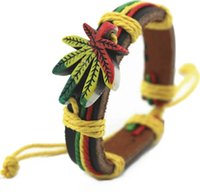 Wholesale Bob Marley Bracelet Jamaica Friendship bracelet Herb leaf bracelets Reggae Rasta Stripe wrist Band Bracelet Wrist Bracelet pc