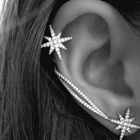 antique clips - Gothic Antique Silver Plated Snowflake Rhinestone Clip Ear Cuff Wrap Stud Earrings for Women Girl Fashion Jewelry