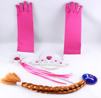 Wholesale Christmas Party Frozen Princess Elsa Frozen girls Hair Accessories Tiara Cosplay Crown Wig Magic Wand Glove kids accessories costume DHL