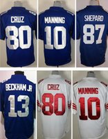 Wholesale 13 Odell Beckham Jr Game Giants Jerseys Eli Manning Sterling Shepard Victor Cruz Blue Stitched Jerseys