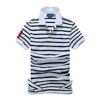 Wholesale Men s Shirts Tops Summer fashion Style pure Cotton Tops Short Casual Striped Slim Contrast Color Polo Men Shirts