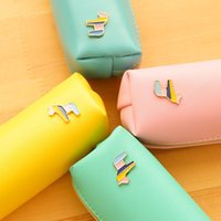 Wholesale 12 Candy color Cute horse pencil bags PU pen case stationery material escolar office accessories school supplies