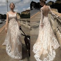 Wholesale Elegant A Line Spring Engagement Bridal Dresses With Appliques Backless Sexy Formal Gown Sheer Neck Custom Made Wedding Dress Spring