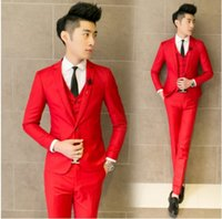 Wholesale The wedding suits male slim red formal dress fashion casual suit the groom blue thin