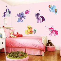 Wholesale 50 cm My little Pony Wall Stickers Ponies D Wallpapers Wall Decals Children Removeable Novelty Kids Room Wallpaper Free DHL