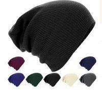 Wholesale 2016 Fashion Beanie Hip Hop Hat Single Color Beanie Hat Cap Hip Hop Knit Hedging Winter Warm Hats for Women Men femme