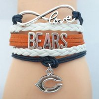 bears love - Custom Infinity Love Chicago State Bears Football Bracelet Wrap Braided Bracelet Leather Bracelet Bangle for Football Team Fan Drop Shipping