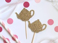 baby themed food - Glittery Teapot Cupcake Toppers perfect for tea party themed bridal shower birthday baby shower food picks
