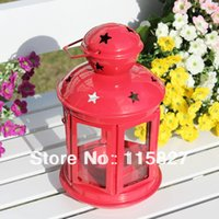 Wholesale wedding gift Metal Weddings lantern Iron Candle Holder house or shop decoration red artcraft