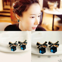 Wholesale Fashion Lovely Cute Blue Women Bow Crystal Cubic Earring Gift For Lover Girls