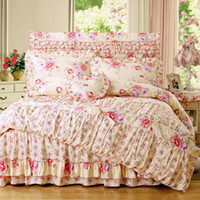Wholesale Korean Pastoral Cotton Bedding Set Home Textile Reactive Printing Duvet Cover Bed Skirt Pillowcase