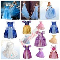 Wholesale Solid Maxi Dresses Wholesale - Kids Frozen Cinderella Dress Princess Party Dress Cosplay Costume Dress Fancy Maxi Dress Ball Gowns Formal Pageant Butterfly Dress B256 5