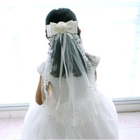 Wholesale Lace Edge Little Girls Veil with Bow Kids Head Pieces for Weddings and Events in Ivory Color