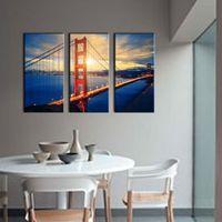 art san - 3 Picture Combination Wall Art For Home Decoration Golden Gate Bridge At Sunrise San Francisco Cityscape Bridge Landscape Canvas Print