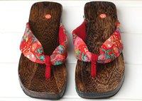 geta - 2016 Summer Women Sandals Japanese Geta Candlenut Beach Clogs Wooden Beach Slippers Sandals Flat Heel Flip Flops Shoes