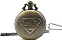 big pocket watch - 10pcs Mixed Christmas Bronze Quartz Antique Vine Superman Big Men Women Pocket Watches with Pendant Necklace Chain