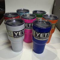 Wholesale YETI Rambler Tumbler Cup Pink Blue Light Blue Orange Light Green Multicolor Bilayer Vacuum Insulation Cup Tumbler Mug