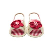 baby gingham - Summer Cool Newborn Baby Shoes Unique Red Flowers Baby Girl Shoes Canvas Gingham First Baby Shoes