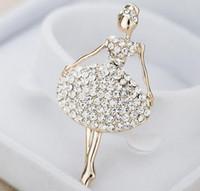 ballerina brooch - High grade ballerina brooch Creative fashion set auger alloy pins with Austrian diamond Clothing accessories Gold imitation diamond pins