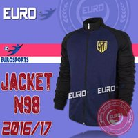 Wholesale 2016 Top Quality Atletico Madrid Away Adult Jacket Tracksuit Winter Long Sleeve Maillot de foot N98 Sportswear TORRES Survetement shirts