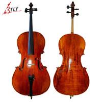 Wholesale TONGLING Antique Matt Cello Maple Natural Stripe Violoncello