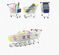 Wholesale New organizations Cute Cart Mobile Phone Holder Pen Holder Mini Supermarket office Handcart Shopping Utility Cart Phone Holder