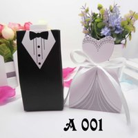 boxes for wedding dress - 100pcs Bride and Groom Tuxedo Dress Gown Wedding Favor and Gift Paper Box Candy Box Wedding Gifts for Guests Party Supplies