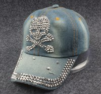 Wholesale New Women Washed Denim crystal Skull baseball cap hip hop sports hat Snapback caps for women