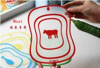 glass cutting board - Four color classification chopping board Grind arenaceous translucence chopping block Frosted glass cutting board Cartoon large